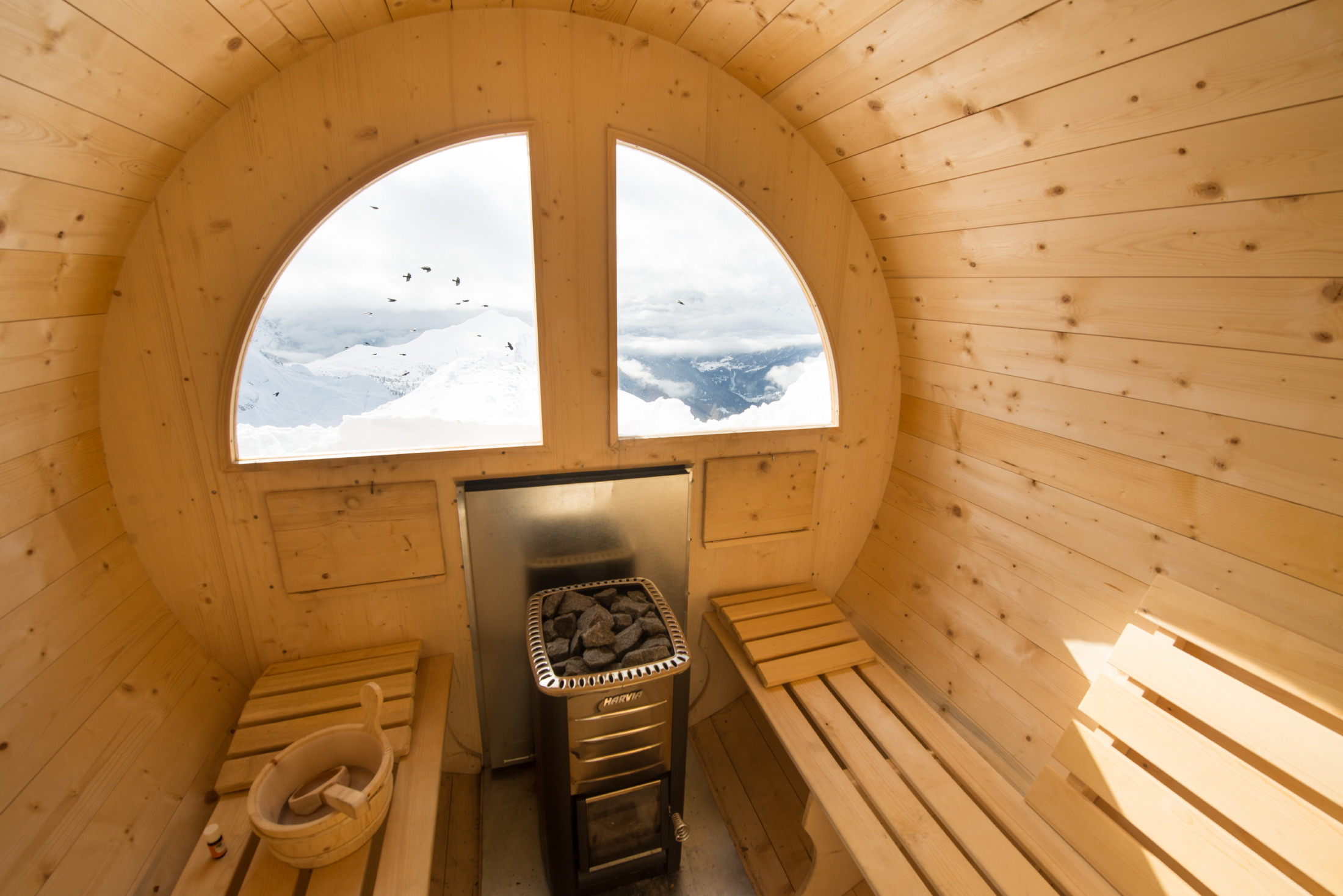 die neue sauna am rifugio lagazuoi. Black Bedroom Furniture Sets. Home Design Ideas