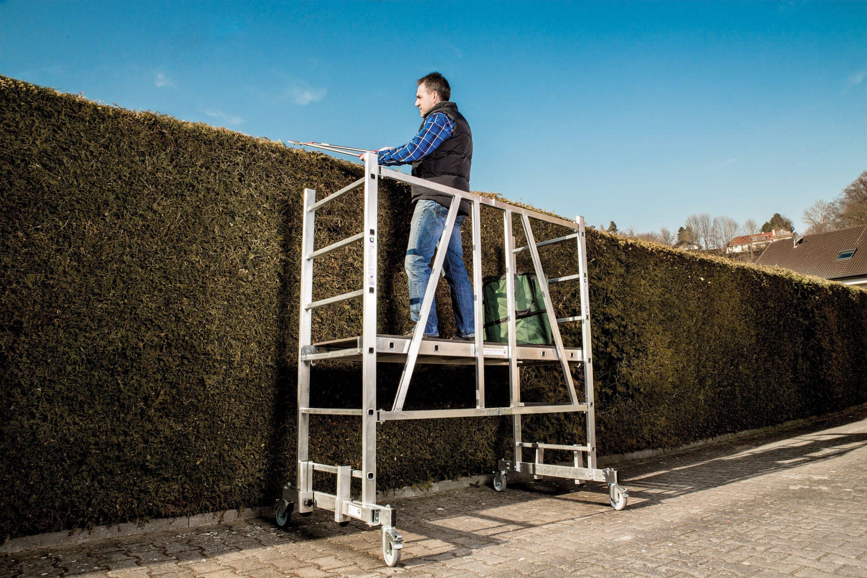 """Safety first: Sicher werkeln in Haus, Hof und Garten – Experten raten Heimwerkern zu Leitern, Kleingerüsten und Arbeitsdielen in Profiqualität und """"Made in Germany"""""""
