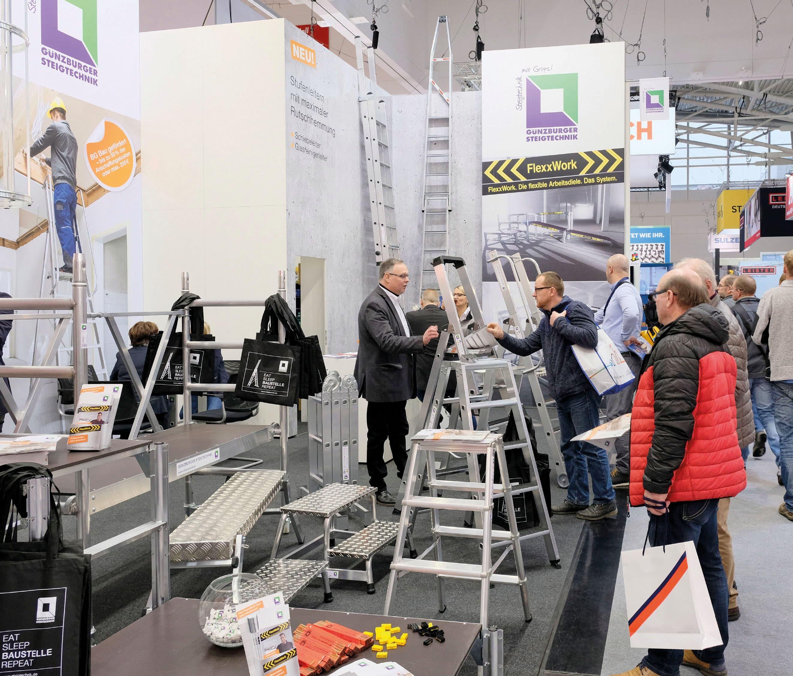 Günzburger Steigtechnik feiert Top-Premiere auf der BAU 2019 – Qualitätshersteller präsentierte sich erstmals auch in München als starker Partner der Baubranche. Neuheiten kommen hervorragend an