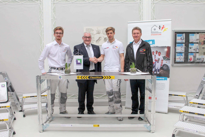Ein Plus an Arbeitssicherheit für das Nationalteam der Stuckateure – Qualitätshersteller Günzburger Steigtechnik ist Ausrüster für Leitern, Arbeitspodeste und Zug-Tische
