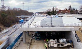 Perfekter Lärmschutz dank AirPor von JOMA – Ausbau der Autobahn A96: Dämmstoffspezialist liefert rund 1.400 Kubikmeter EPS-Blöcke für Lärmschutzwälle
